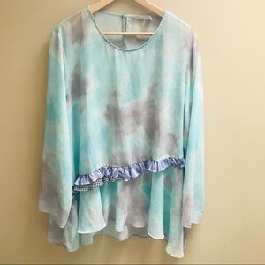 LOGO top  watercolor design with ruffle.  Size XL